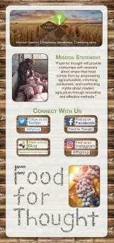 "I designed this 32 inch by 68 inch freestanding poster to be hung on an x-frame for the K-State group ""Food for Thought."" The group works to educate consumers about controversial issues within agriculture and plans to use the poster to promote their group at events."