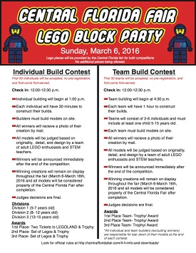Promotional flyer for the Lego Block Party hosted by the Central Florida Fair Youth STEM Program.