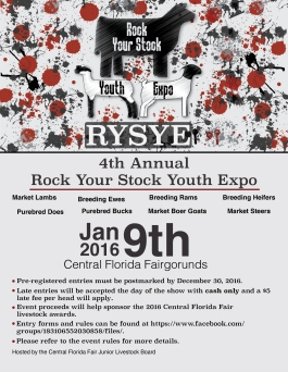 Promotional flyer for the Annual Rock Your Stock Youth Expo hosted by the Central Florida Fair Junior Livestock Board